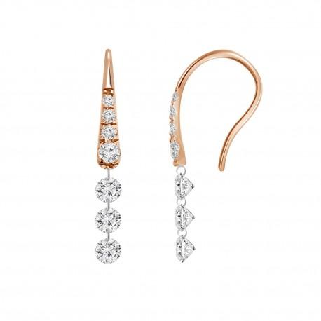 3 Laser Hole Diamond Hook Earring(with Diamond)