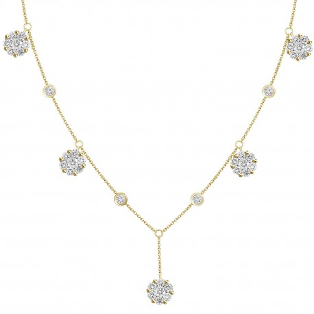 Diamond Round Y-Knot Station Necklace(Large)
