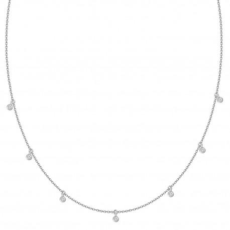 Laser hole Diamond Dangling Collar Necklace