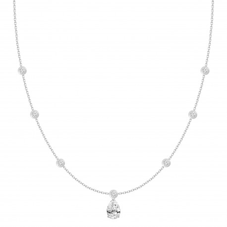 Pear shaped Diamond & Station Necklace