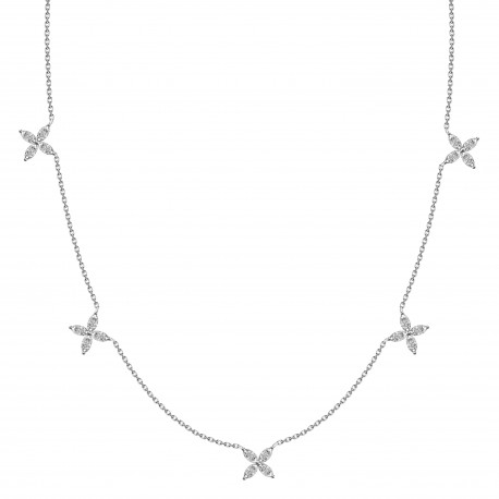 Marquise Diamond Butterfly Station Necklace