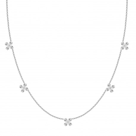 Pear Shaped Diamond Flower Station Necklace