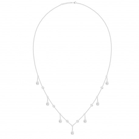 Pear shaped Dangling Diamond & Station Necklace