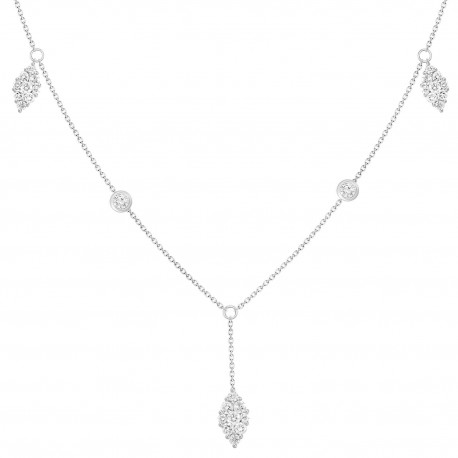 Diamond Pear Shaped Y-Knot Station Necklace