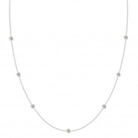 Laser Hole Diamond Station Necklace