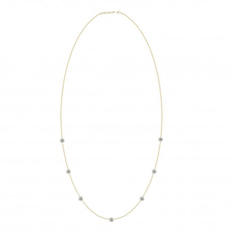 Laser Hole Diamond Station Necklace (Medium)