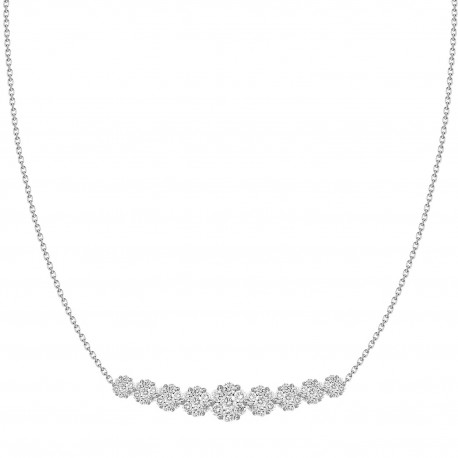 Diamond Pressure setting Crecsent Necklace(Long)