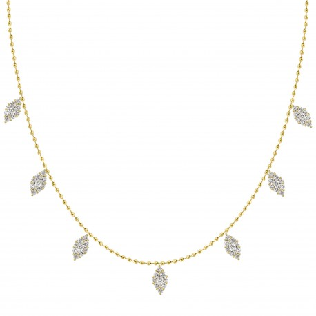 Diamond Marquise Pressure Setting Station Necklace(Small)