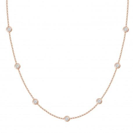 Diamond Bezel Station Necklace(18inch)