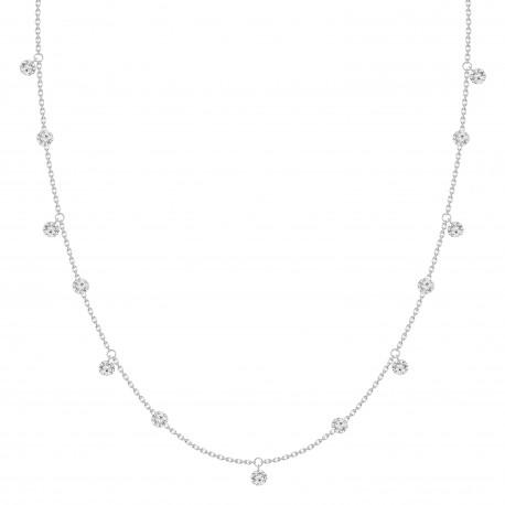 Laser Hole Diamond Dangling Necklace
