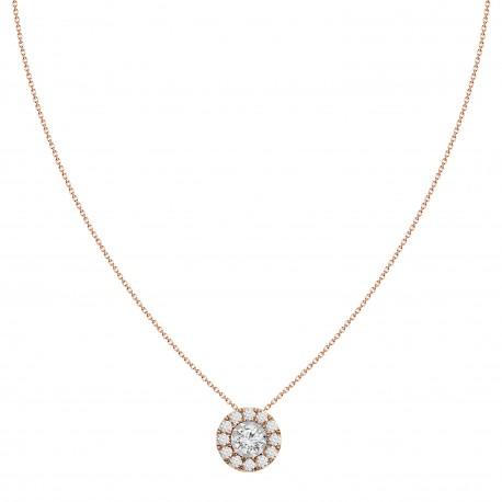 Diamond Round shaped Halo Necklace(Large)