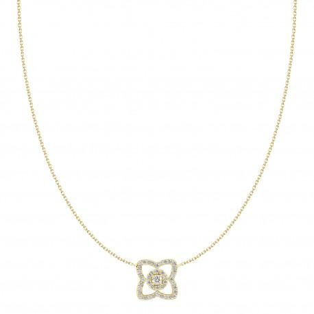 Diamond Open Flower Necklace