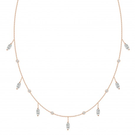 Marquise shaped Dangling Diamond & Station Necklace