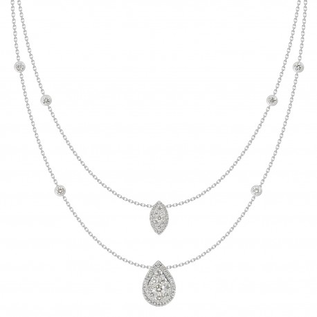 18K Double Chain Station with Marquise Shaped & Pear shaped Pendant