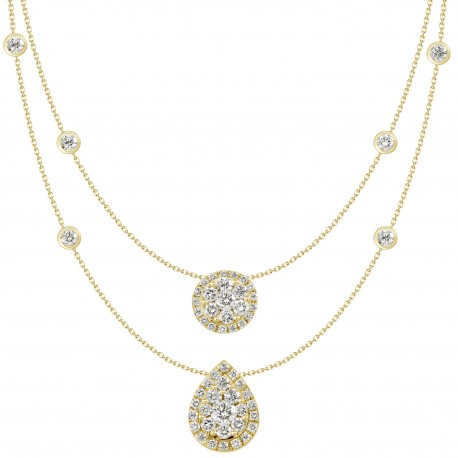 18K Double Chain Station with Round Shaped & Pear shaped Pendant