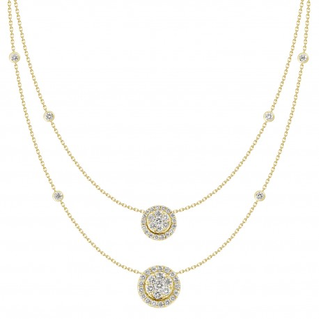 18K Double Chain Station with Double Round shaped Pendant