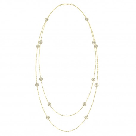 18K Double sided Diamond Long Station Necklace