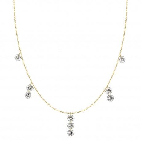 18K Laser hole Dangling Diamonds Necklace