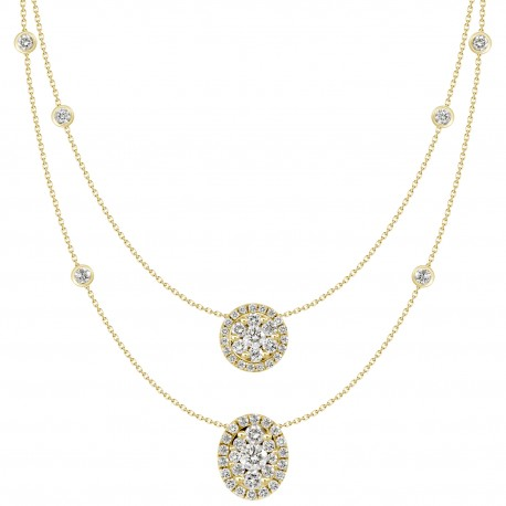 18K Double Chain Station with Round Shaped & Oval shaped Pendant