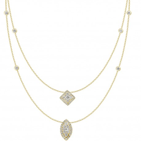 18K Double Chain Station with Square & Marquise shaped Pendant