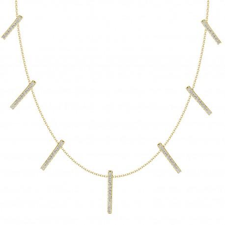18K Diamond Bar Station Hanging Necklace