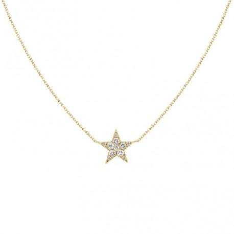 18K Diamond Star Shape Simple Design Necklace
