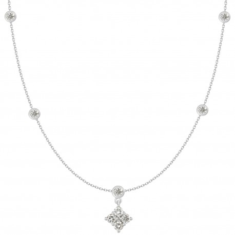 18K Invisible Design Diamond Hanging Necklace