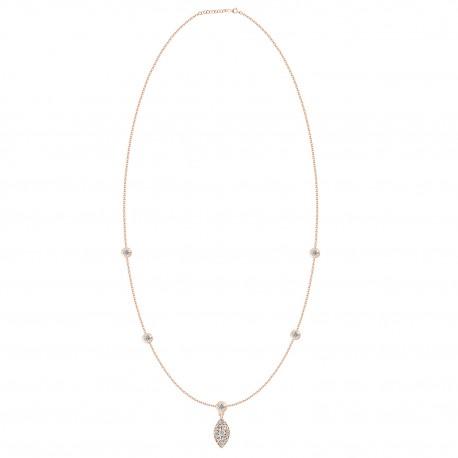 18K Fancy Shape Hanging Diamond Necklace