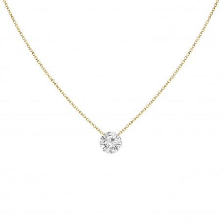 18K Laser Hole Solitaire Diamond Necklace