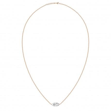 18K Laser Hole Fancy Shape Solitaire Diamond Necklace