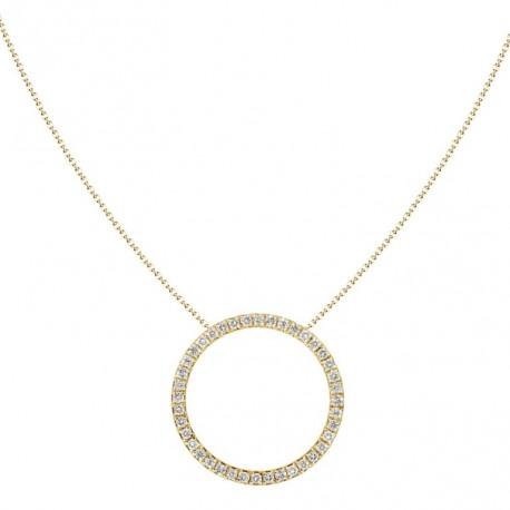 18K Diamond Open Circle Necklace
