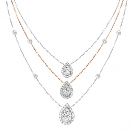18K Triple Chain Station with Pear shaped Pendant