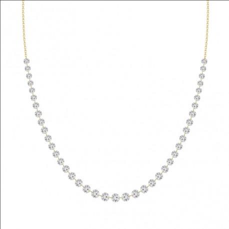 18K Laser Hole Diamond Collar Necklace