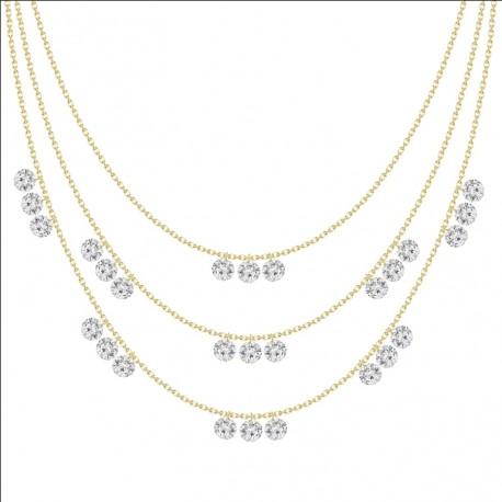 18K Triple Chain Laser Hole Diamond Station Necklace
