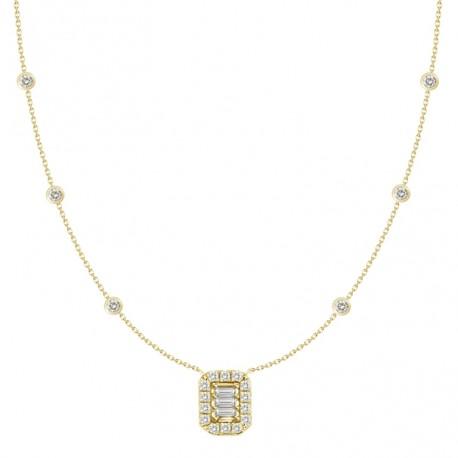 18K Diamond Rectangle Shaped Necklace
