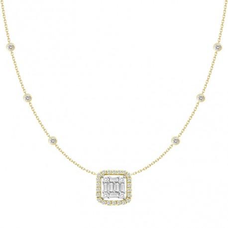 18K Diamond Square Shaped Necklace