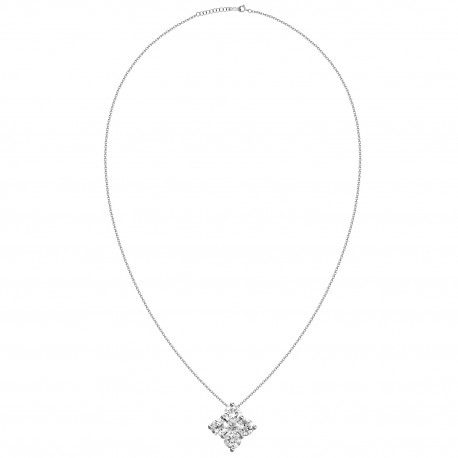 18K Square Shape Invisible Design Diamond Necklace