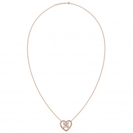 18K Heart Shape Diamond Necklace