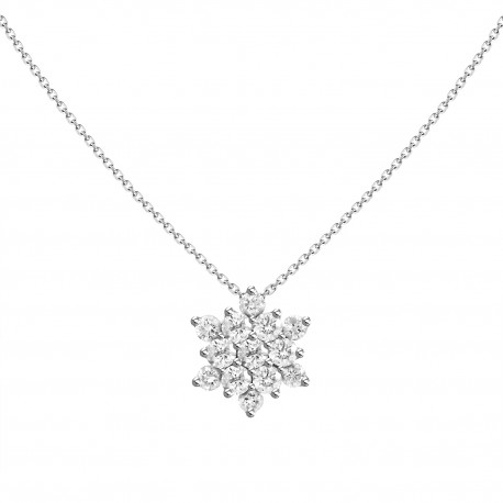 18K Snowflake Shape Diamond Necklace