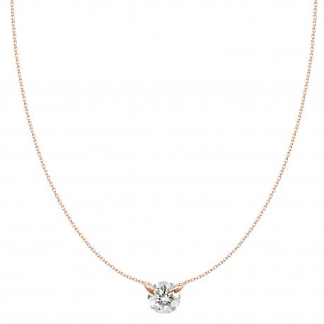 18K Round Solitaire Design Diamond Necklace (Small)