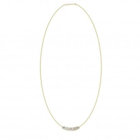 18K Simple Design Crecsent Shape Diamond Necklace