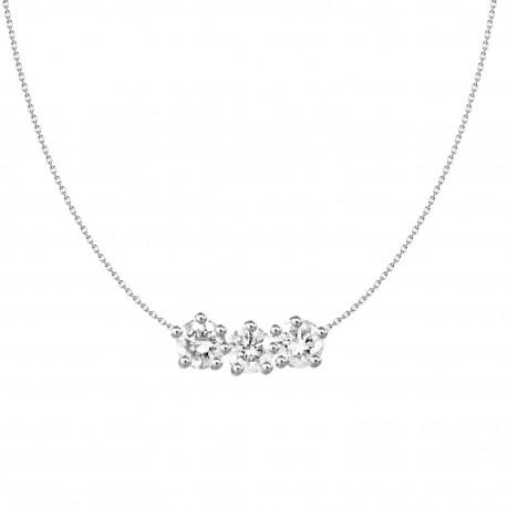 18K Simple Design 3 Stone Diamond Necklace
