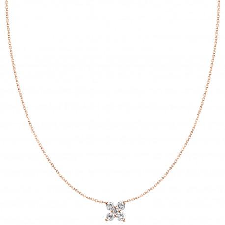 18K Simple Design Butterfly Shape Diamond Necklace