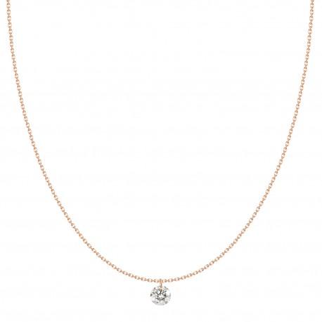 18K Laser Hole Round Solitaire Design Diamond Necklace