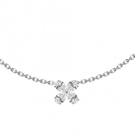 18K Pear Shape Flower Design Diamond Necklace