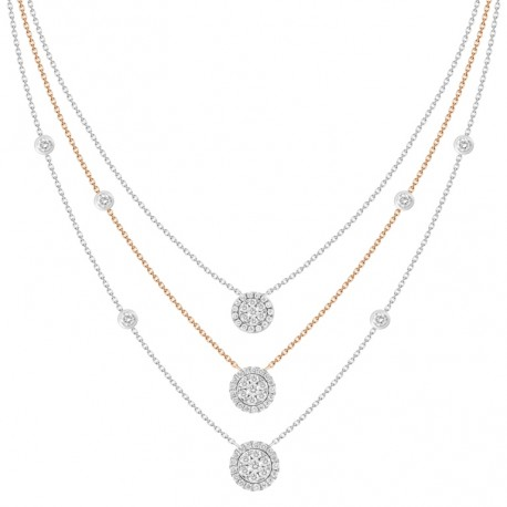 18K Triple Chain Station with Circle Shaped Pendant