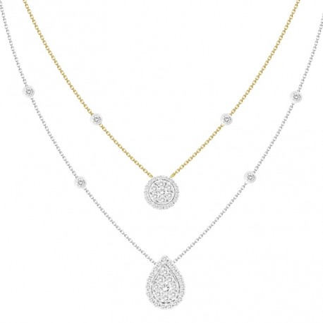 18K Double Chain Station with Circle  & Pear Shaped Pendant