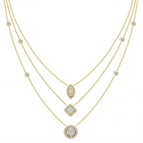 18K Triple Chain Station with Circle & Square & Marquise Shaped Pendant