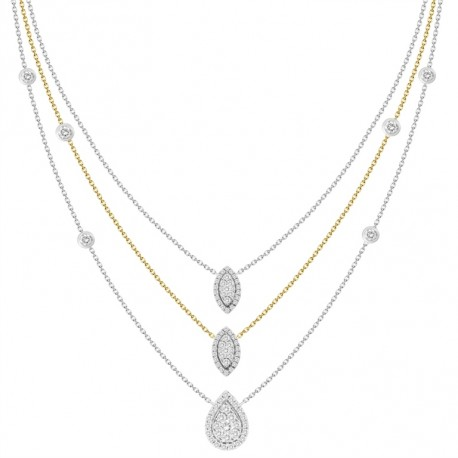 18K Triple Chain Station with Pear & Marquise Shaped Pendant