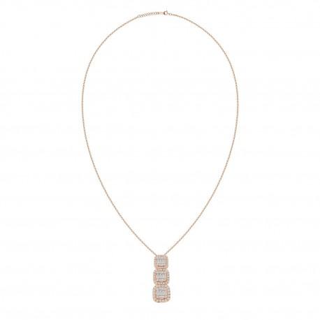 18K 3 Square Design with Fancy Shape Diamond Necklace